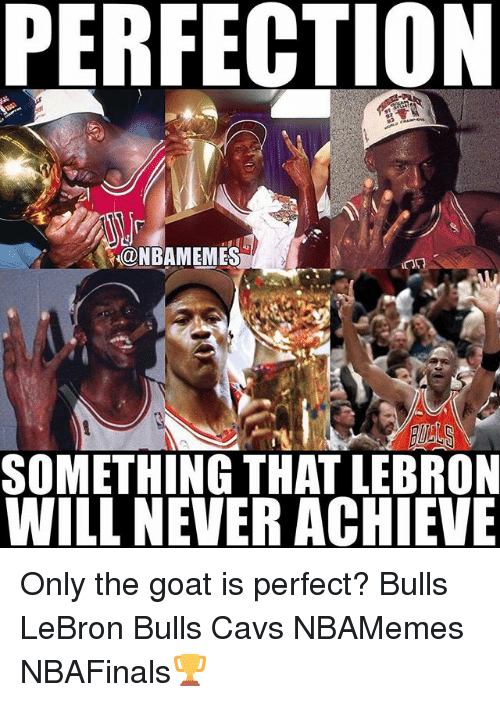Cavs, Memes, and Goat: PERFECTION  NBAMEMES  SOMETHING THAT LEBRON  WILL NEVERACHIEVE Only the goat is perfect? Bulls LeBron Bulls Cavs NBAMemes NBAFinals🏆
