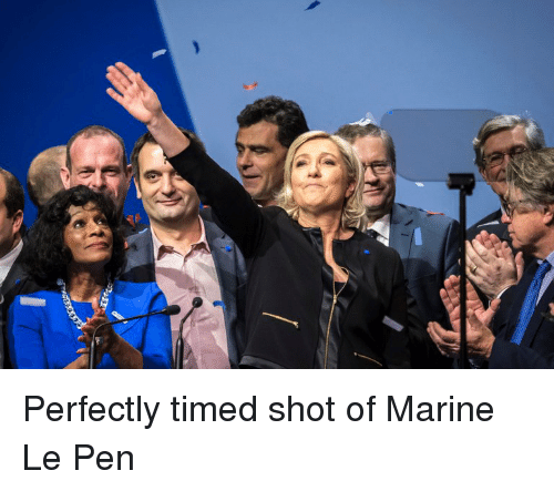 perfectly timed shot of marine le pen 13814164 perfectly timed shot of marine le pen politics meme on sizzle