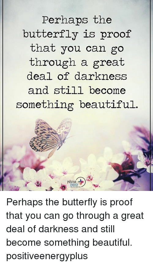 Perhapes: Perhaps the  butterfly is proof  that you can go  through a great  deal of darkness  and still become  something beautiful.  POSITIVE Perhaps the butterfly is proof that you can go through a great deal of darkness and still become something beautiful. positiveenergyplus