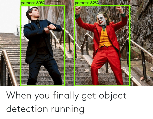 object: person: 89%  person: 82% When you finally get object detection running