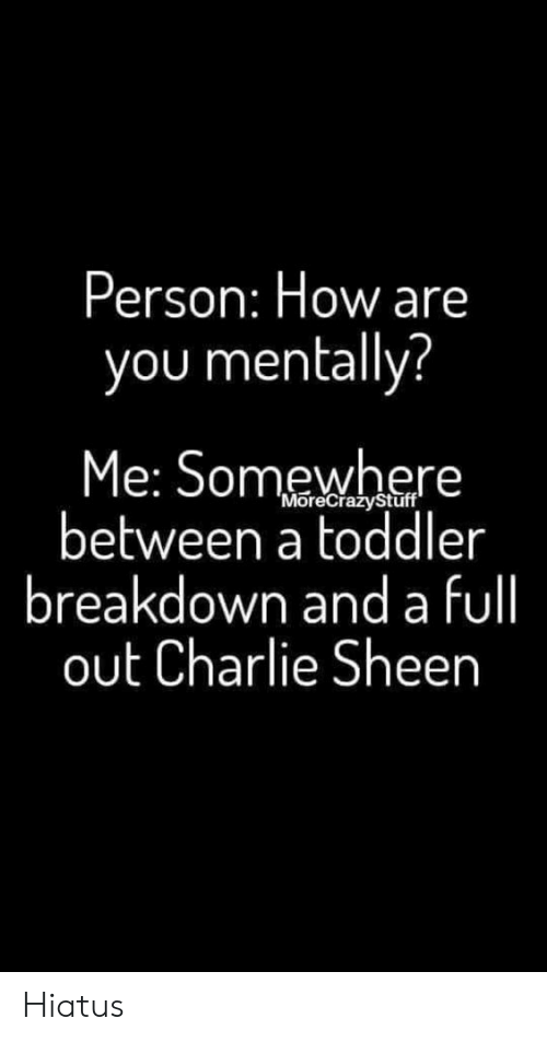 sheen: Person: How are  you mentally?  Me: Somewhere  between a toddler  breakdown and a fll  out Charlie Sheen  'MoreCrazyStuff Hiatus