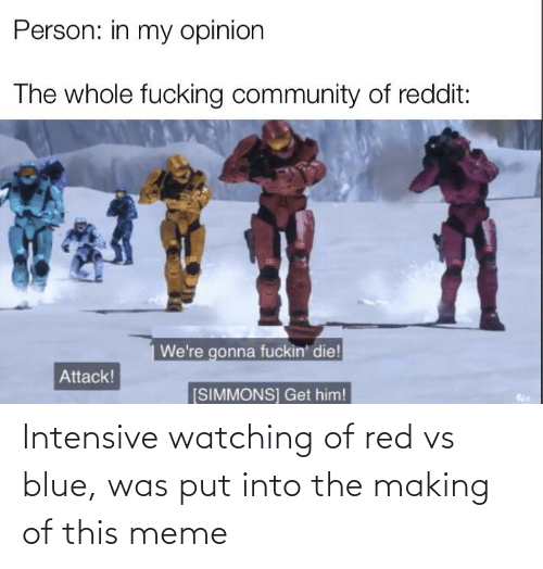 Red vs. Blue: Person: in my opinion  The whole fucking community of reddit:  We're gonna fuckin' die!  Attack!  [SIMMONS] Get him! Intensive watching of red vs blue, was put into the making of this meme