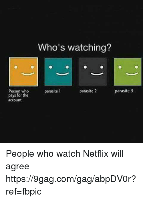 the Accountant: Person who  pays for the  account  Who's watching?  parasite 2  parasite 3  parasite 1 People who watch Netflix will  agree https://9gag.com/gag/abpDV0r?ref=fbpic