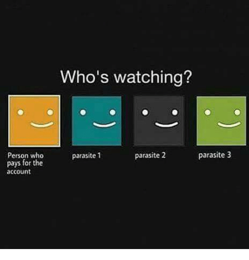the Accountant: Person who  pays for the  account  Who's watching?  parasite 3  parasite 1  parasite 2