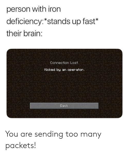 Operator: person with iron  deficiency:*stands up fast*  their brain:  Connection Lost  Kicked by an operator.  Back You are sending too many packets!
