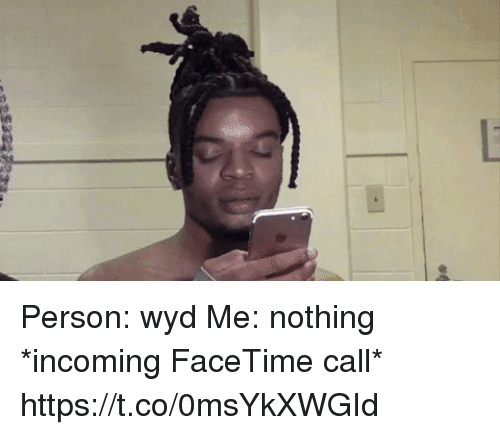 Facetime, Wyd, and Call: Person: wyd  Me: nothing  *incoming FaceTime call*  https://t.co/0msYkXWGId