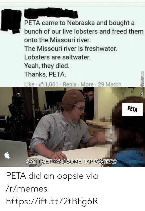 Nebraska: PETA came to Nebraska and bought a  bunch of our live lobsters and freed them  onto the Missouri river.  The Missouri river is freshwater.  Lobsters are saltwater.  Yeah, they died.  Thanks, PETA.  PETA  CAN I GET YOU SOME TAP WATER PETA did an oopsie via /r/memes https://ift.tt/2tBFg6R