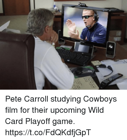 carroll: Pete Carroll studying Cowboys film for their upcoming Wild Card Playoff game. https://t.co/FdQKdfjGpT