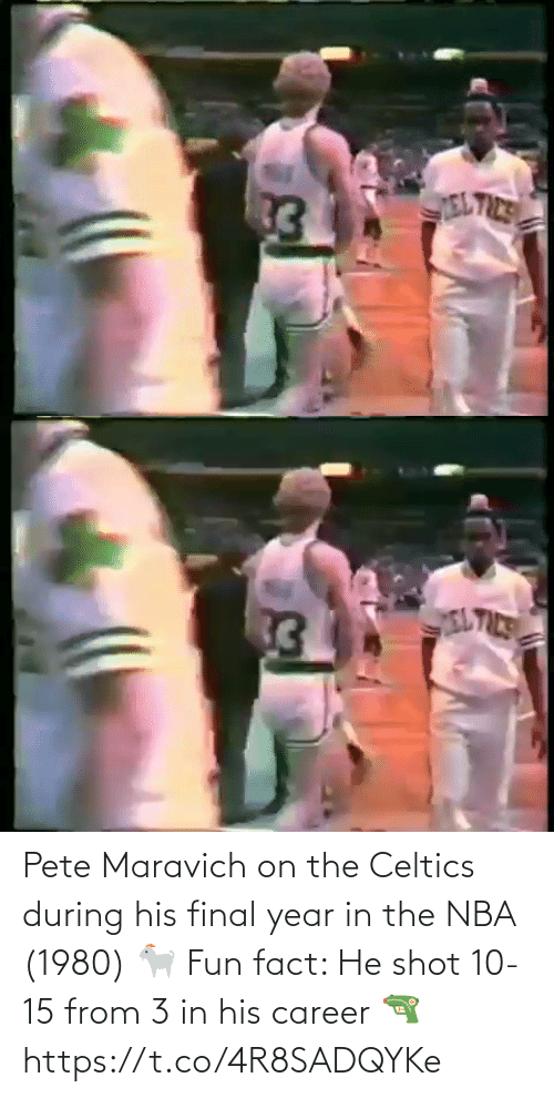 White People: Pete Maravich on the Celtics during his final year in the NBA (1980) 🐐   Fun fact: He shot 10-15 from 3 in his career 🔫 https://t.co/4R8SADQYKe
