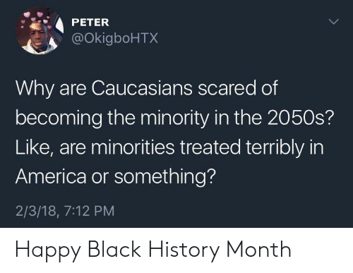 Minorities: PETER  @okigboHTX  Why are Caucasians scared of  becoming the minority in the 2050s?  Like, are minorities treated terribly in  America or something?  2/3/18, 7:12 PM Happy Black History Month