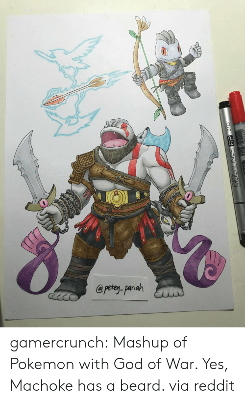 god of war: @petey-pariah  MULTILINER SP gamercrunch:  Mashup of Pokemon with God of War. Yes, Machoke has a beard. via reddit