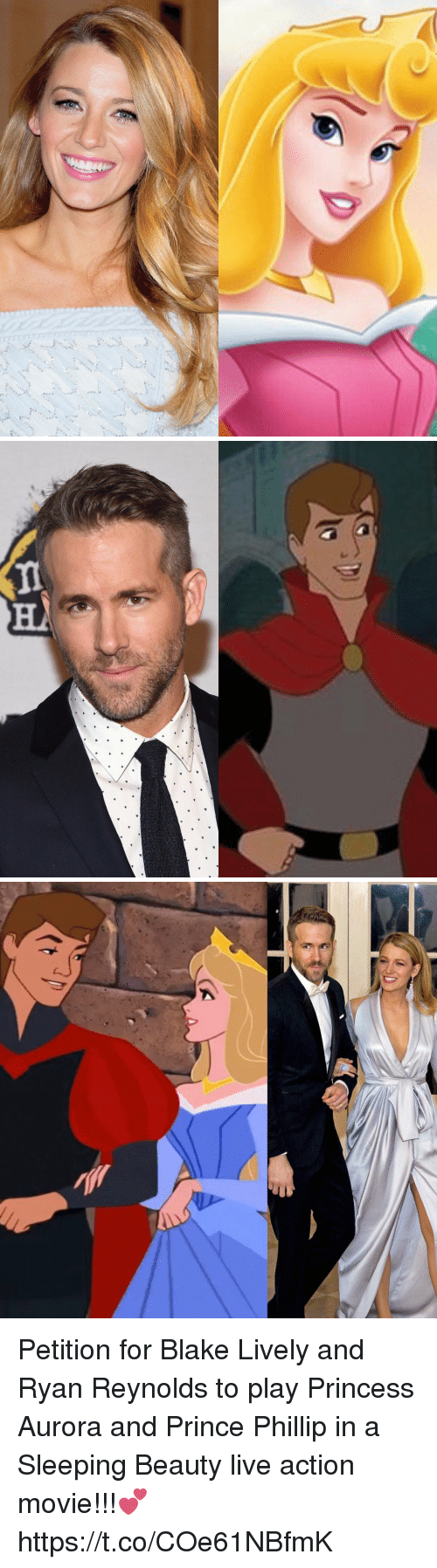 Prince, Sleeping Beauty, and Ryan Reynolds: Petition for Blake Lively and Ryan Reynolds to play Princess Aurora and Prince Phillip in a Sleeping Beauty live action movie!!!💕 https://t.co/COe61NBfmK