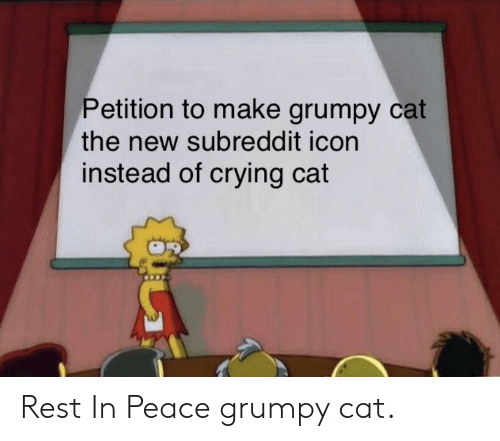 Grumpy Cat: Petition to make grumpy cat  the new subreddit icon  instead of crying cat Rest In Peace grumpy cat.