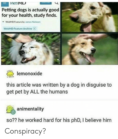 webMD: Petting dogs is actually good  for your health, study finds.  WebMD Feature by Jannes Neissen  WebMD Feature Archive  lemonoxide  this article was written by a dog in disguise to  get pet by ALL the humans  animentality  so?? he worked hard for his phD, I believe him Conspiracy?