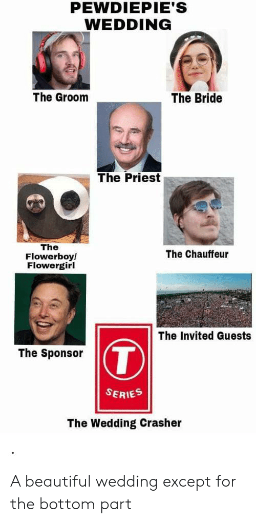 chauffeur: PEWDIEPIE'S  WEDDING  The Bride  The Groom  The Priest  The  Flowerboy/  Flowergirl  The Chauffeur  The Invited Guests  T  The Sponsor  SERIES  The Wedding Crasher A beautiful wedding except for the bottom part