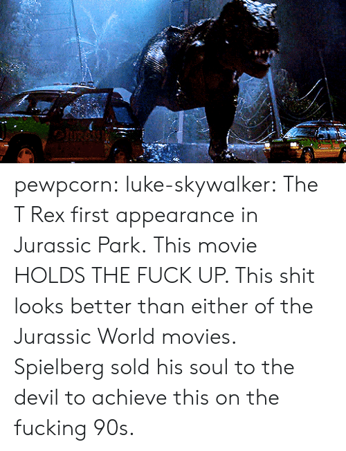 Jurassic Park: pewpcorn: luke-skywalker: The T Rex first appearance in Jurassic Park.  This movie HOLDS THE FUCK UP. This shit looks better than either of the Jurassic World movies. Spielberg sold his soul to the devil to achieve this on the fucking 90s.