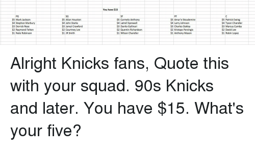 Derrick Rose, Nate Robinson, and New York Knicks: PG  $5 Mark Jackson  $4 Stephon Marbury  $3 Derrick Rose  $2 Raymond Felton  $1 Nate Robinson  SG  $5 Allan Houston  $4 John Starks  $3 Jamal Crawford  $2 Courtney Lee  $1 JR Smith  You have $15  $5 Carmelo Anthony  $4 Latrell Sprewell  $3 Danilo Gallinari  $2 Quentin Richardson  $1 Wilson Chandler  $5 Amare Stoudemire  $4 Larry Johnson  $3 Charles Oakley  $2 Kristaps Porzingis $1 Anthony Mason.  $5 Patrick Ewing  $4 Tyson Chandler  $3 Marcus Camby  $2 David Lee  $1 Robin Lopez Alright Knicks fans, Quote this with your squad. 90s Knicks and later. You have $15. What's your five?