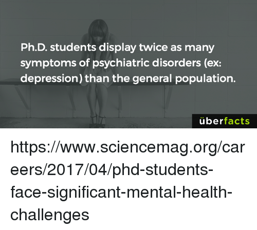 Memes, Depression, and The General: Ph.D. students display twice as many  symptoms of psychiatric disorders (ex:  depression) than the general population.  überfacts https://www.sciencemag.org/careers/2017/04/phd-students-face-significant-mental-health-challenges