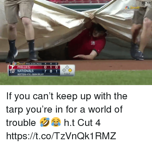 rain delay: PHIA  PHILADELPHIA R H E  PHILLIES  O NATIONALS 7 8 1  BOTTOM 4TH-RAIN DELAY  1 OUT If you can't keep up with the tarp you're in for a world of trouble 🤣😂  h.t Cut 4 https://t.co/TzVnQk1RMZ