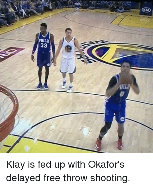 Basketball, Golden State Warriors, and Sports: PHILA  33 Klay is fed up with Okafor's delayed free throw shooting.