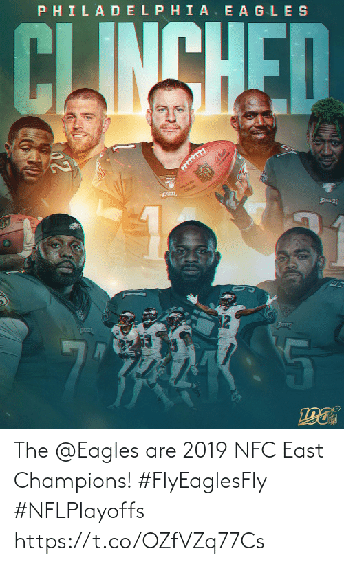 nfc: PHILADELPHIA. E AGLES  CLINSHED  THE QURE  FABLE  EABLES  32  ATLES  AILES The @Eagles are 2019 NFC East Champions! #FlyEaglesFly #NFLPlayoffs https://t.co/OZfVZq77Cs