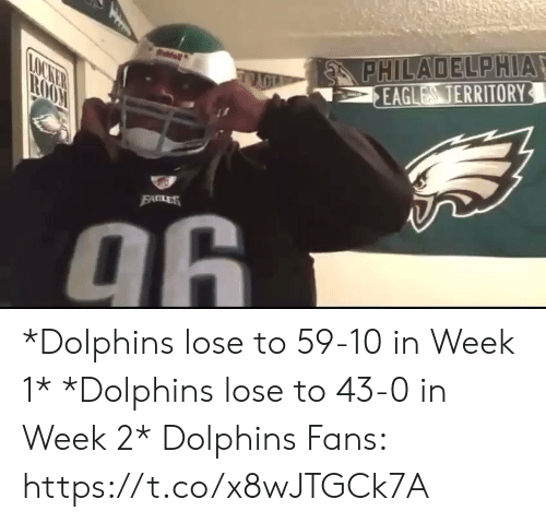 Philadelphia: PHILADELPHIA  EAGLES TERRITORY  LOCKER  TROO  EALES  96  PHM *Dolphins lose to 59-10 in Week 1*  *Dolphins lose to 43-0 in Week 2*   Dolphins Fans: https://t.co/x8wJTGCk7A