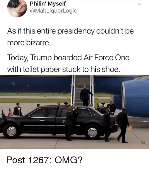 Memes, Omg, and Air Force: Philin'  Myself  @MaltLiquorLogic  As if this entire presidency couldn't be  more bizarre  Today, Trump boarded Air Force One  with toilet paper stuck to his shoe.  im Post 1267: OMG?