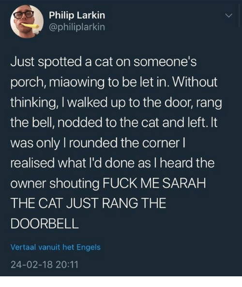 Fuck, Cat, and Bell: Philip Larkin  @philiplarkin  Just spotted a cat on someone's  porch, miaowing to be let in. Without  thinking, I walked up to the door, rang  the bell, nodded to the cat and left. It  was only I rounded the corner l  realised what I'd done as l heard the  owner shouting FUCK ME SARAH  THE CAT JUST RANG THE  DOORBELL  Vertaal vanuit het Engels  24-02-18 20:11