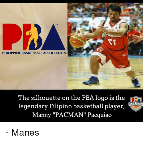 """Mannis: PHILIPPINE BASKETBALL ASSOCIATION  The silhouette on the PBA logo is the  DM  legendary Filipino basketball player  Manny """"PACMAN"""" Pacquiao - Manes"""