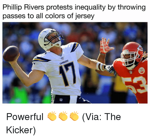 phillip rivers protests inequality by throwing passes to all colors 27925355 🔥 25 best memes about phillip rivers phillip rivers memes