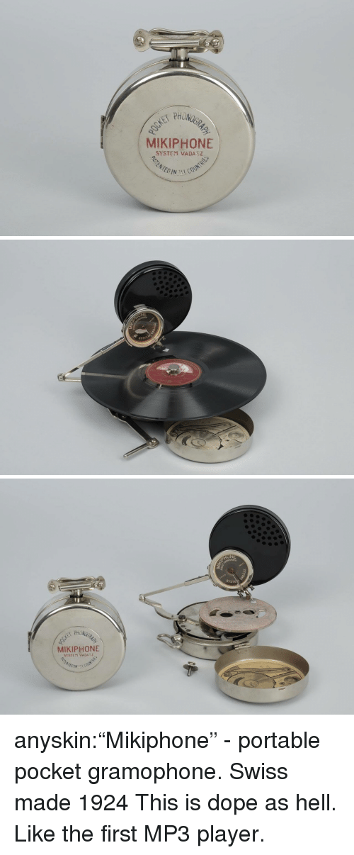 """Swiss: PHON  MIKIPHONE  SYSTEM VADASZ   NE  SYSTEM   SYSTE  MIKIPHONE  SYSTEM VADA anyskin:""""Mikiphone"""" - portable pocket gramophone. Swiss made 1924  This is dope as hell. Like the first MP3 player."""