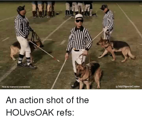 Sports, Entertainment, and Ref: Photo By Kramerica Entertainment  (a NOTSportsCenter An action shot of the HOUvsOAK refs: