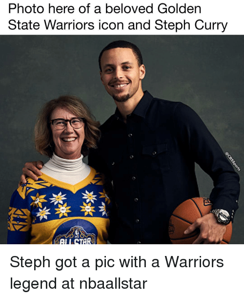 Golden State Warriors, Memes, and Golden State: Photo here of a beloved Golden  State Warriors icon and Steph Curry  TAR Steph got a pic with a Warriors legend at nbaallstar
