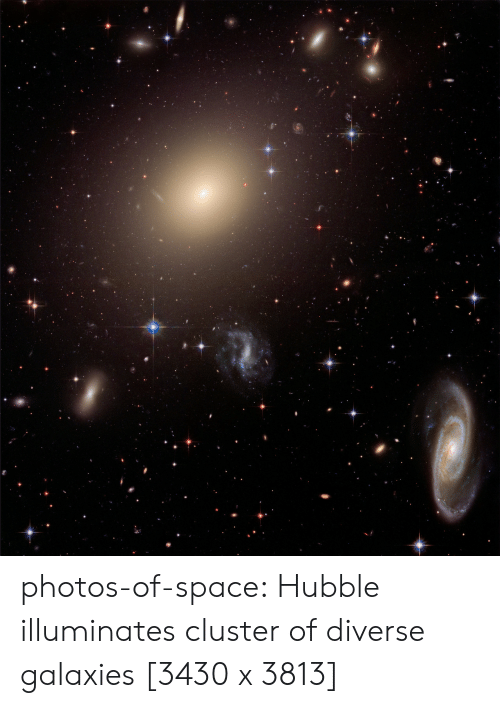 galaxies: photos-of-space:  Hubble illuminates cluster of diverse galaxies [3430 x 3813]