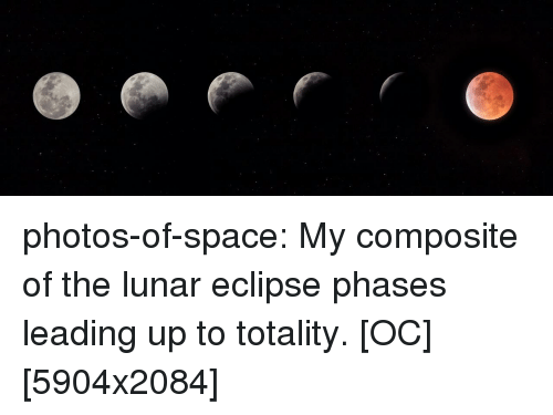 Eclipse: photos-of-space:  My composite of the lunar eclipse phases leading up to totality. [OC] [5904x2084]