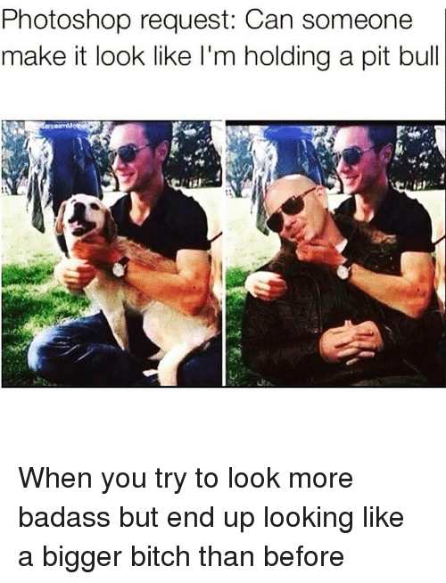 Bitch, Photoshop, and Badass: Photoshop request: Can someone  make it look like I'm holding a pit bull When you try to look more badass but end up looking like a bigger bitch than before