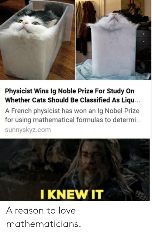 noble: Physicist Wins Ig Noble Prize For Study On  Whether Cats Should Be Classified As Liqu...  A French physicist has won an Ig Nobel Prize  for using mathematical formulas to determ..  sunnyskyz.com  I KNEW IT A reason to love mathematicians.