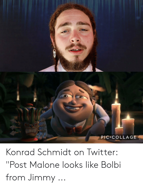 "Bulby Jimmy: PIC COLLAGE Konrad Schmidt on Twitter: ""Post Malone looks like Bolbi from Jimmy ..."