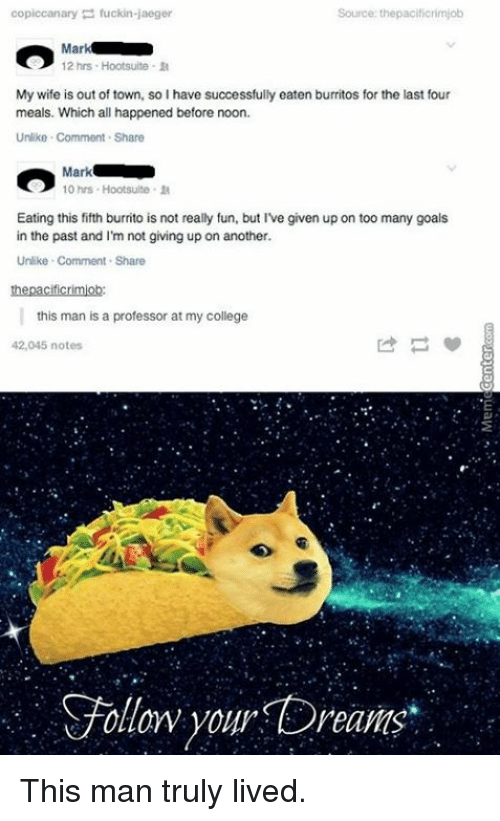 hootsuite: piccanary  fuckin jaeger  Source: the pacificrimjob  CO  Mal  12 hrs Hootsuite R  My wife is out of town, so I have successfully eaten burritos for the last four  meals. Which all happened before noon.  Unlike Comment Share  Mark  10 hrs Hootsuite.  Eating this fifth burrito is not really fun, but I've given up on too many goals  in the past and I'm not giving up on another.  Unlike Comment Share  the pacificrimob  this man is a professor at my college  42,045 notes  Follow your Dreams This man truly lived.