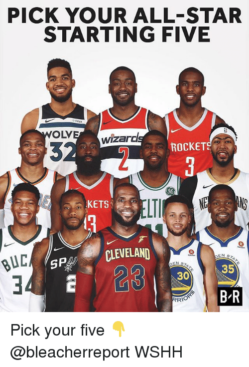 All Star, Memes, and Wshh: PICK YOUR ALL-STAR  STARTING FIVE  OLV  wizarc  ROCKETS  06  KETS  eLI  CLEVELAND  23  BUL  35  30  B R  RI Pick your five 👇 @bleacherreport WSHH
