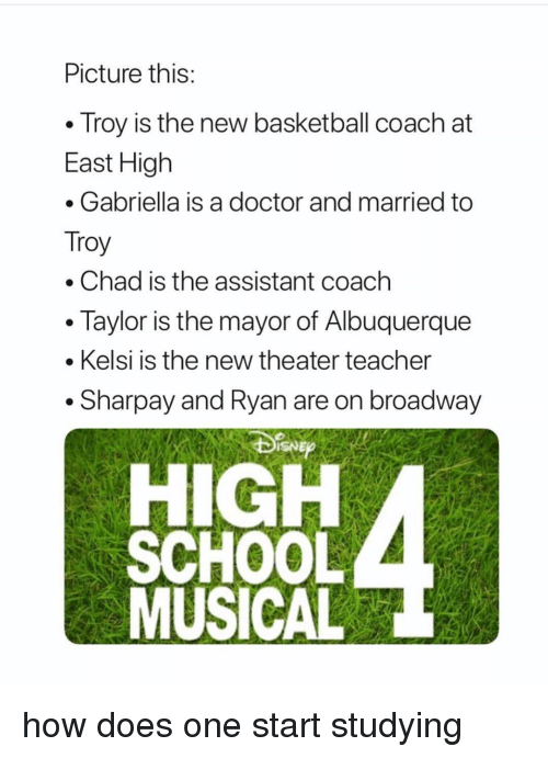 sharpay: Picture this  . Troy is the new basketball coach at  East High  . Gabriella is a doctor and married to  Troy  . Chad is the assistant coach  Taylor is the mayor of Albuquerque  . Kelsi is the new theater teacher  . Sharpay and Ryan are on broadway  HIGH how does one start studying