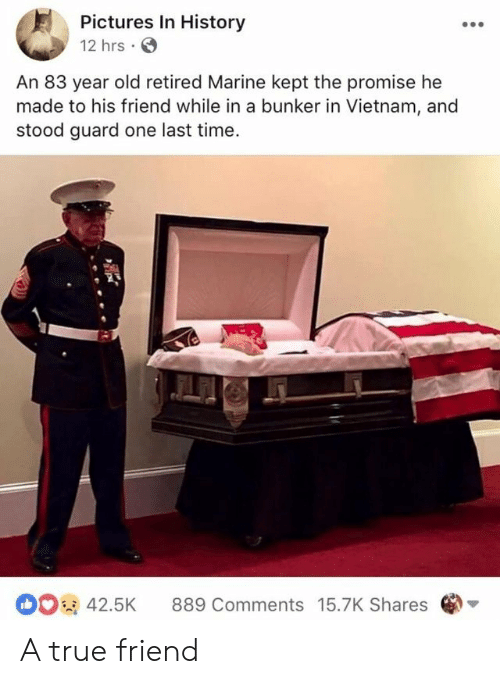 one last time: Pictures In History  12 hrs  An 83 year old retired Marine kept the promise he  made to his friend while in a bunker in Vietnam, and  stood guard one last time  42.5K 889 Comments 15.7K Shares A true friend