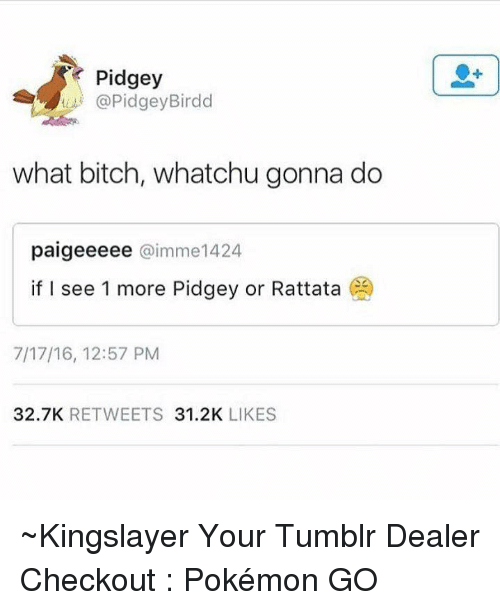 rattatas: Pidgey  (a PidgeyBirdd  what bitch, whatchu gonna do  paigeeeee @imme 1424  if I see 1 more Pidgey or Rattata  CO  7/17/16, 12:57 PM  32.7K  RETWEETS  31.2K  LIKES ~Kingslayer Your Tumblr Dealer  Checkout : Pokémon GO