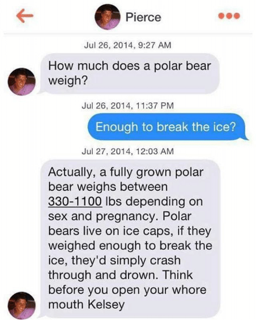 Whoree: Pierce  Jul 26, 2014, 9:27 AM  How much does a polar bear  weigh?  Jul 26, 2014, 11:37 PM  Enough to break the ice?  Jul 27, 2014, 12:03 AM  Actually, a fully grown polar  bear weighs between  330-1100 lbs depending on  sex and pregnancy. Polar  bears live on ice caps, if they  weighed enough to break the  ice, they'd simply crash  through and drown. Think  before you open your whore  mouth Kelsey