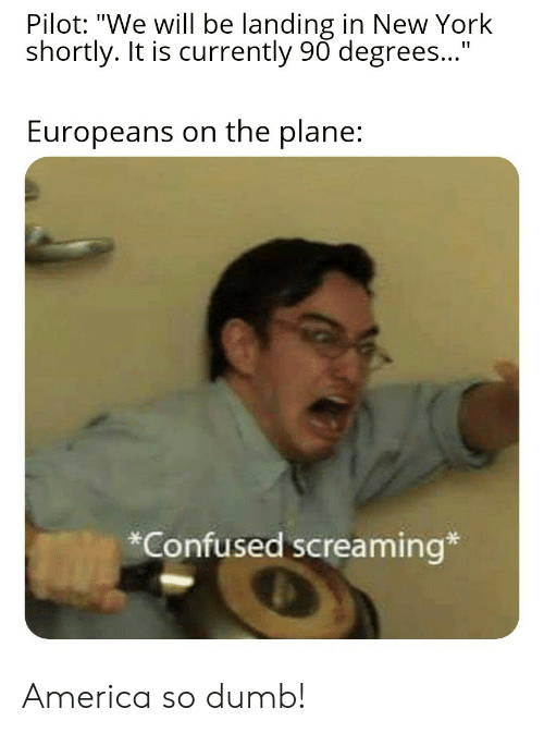 """So Dumb: Pilot: """"We will be landing in New York  shortly. It is currently 90 degrees...""""  Europeans on the plane:  *Confused screaming* America so dumb!"""