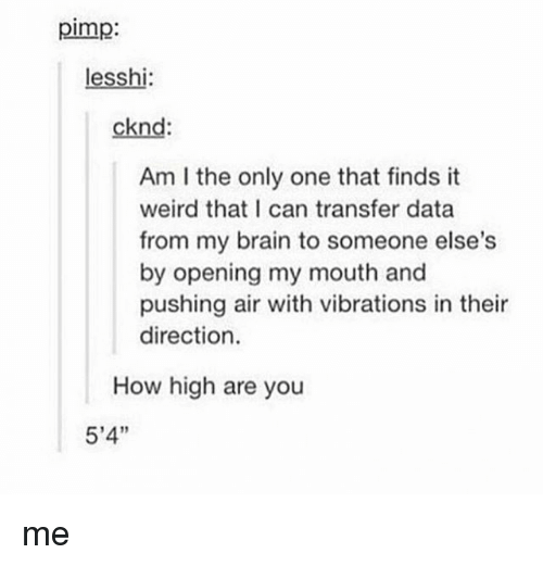 How High, Tumblr, and Weird: pimp  lesshi  cknd:  Am l the only one that finds it  weird that I can transfer data  from my brain to someone else's  by opening my mouth and  pushing air with vibrations in their  direction.  How high are you  5'4'' me