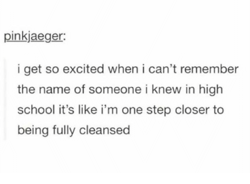 Dank, School, and 🤖: pinkjaeger:  i get so excited when i can't remember  the name of someone i knew in high  school it's like i'm one step closer to  being fully cleansed