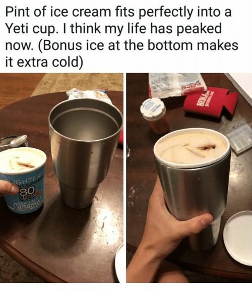 of ice: Pint of ice cream fits perfectly into a  Yeti cup. I think my life has peaked  now. (Bonus ice at the bottom makes  it extra cold)  GHTE  FOR-  CALORIES  SEA SA