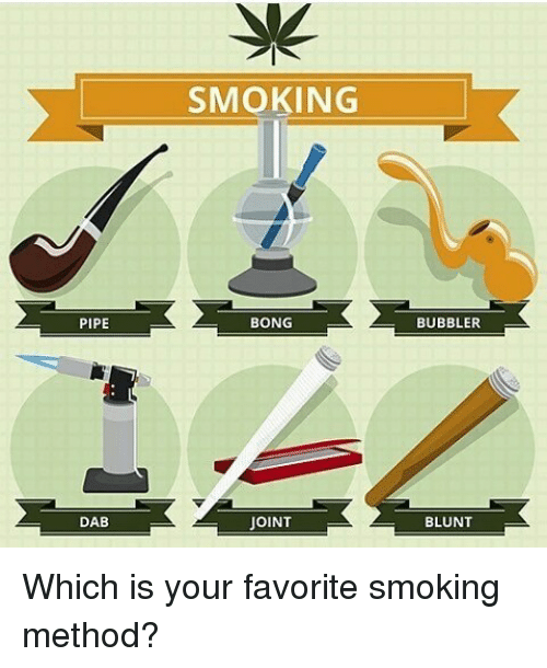 Blunts, Memes, and Smoking: PIPE  DAB  SMOKING  BONG  JOINT  BUBBLER  BLUNT Which is your favorite smoking method?