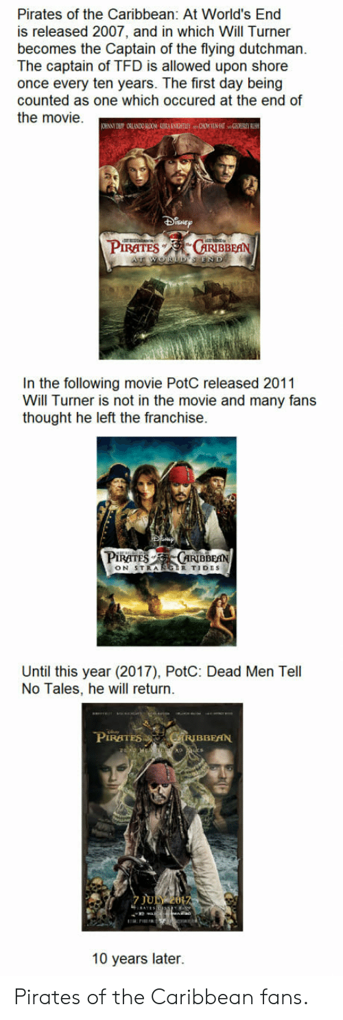 Turners: Pirates of the Caribbean: At World's End  is released 2007, and in which Will Turner  becomes the Captain of the flying dutchman.  The captain of TFD is allowed upon shore  once every ten years. The first day being  counted as one which occured at the end of  the movie.  Pitam-s  RATES  ,.GRİBBEA  In the following movie PotC released 2011  Will Turner is not in the movie and many fans  thought he left the franchise  PIRATE .ARIBBEAN  ON 5TRA  Until this year (2017), PotC: Dead Men Tell  No Tales, he will return  PIRATES  BBEAN  7 JULY2  10 years later. Pirates of the Caribbean fans.